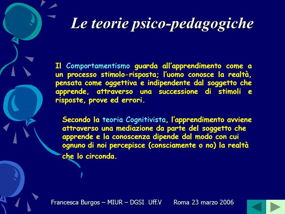 Le teorie psico-pedagogiche Nel Novecento ne distinguiamo essenzialmente due : Comportamentismo Cognitivismo Francesca Burgos – MIUR – DGSI Uff.V Roma 23 marzo 2006