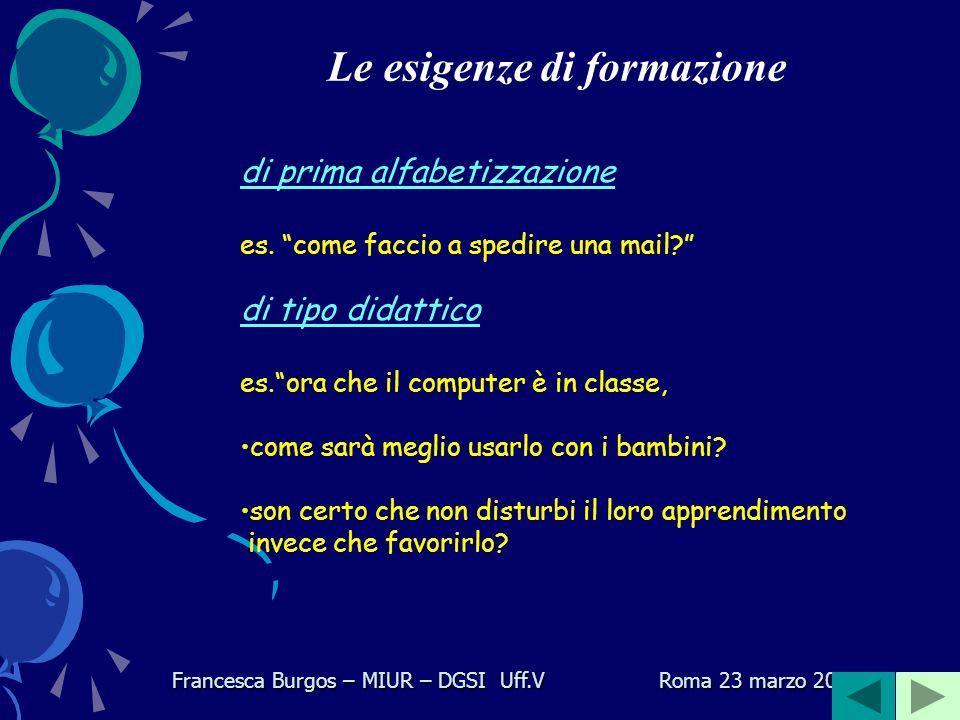 Molti di voi già lavorano con le TIC per motivi personali nella didattica Il rapporto con la tecnologia Francesca Burgos – MIUR – DGSI Uff.V Roma 23 marzo 2006