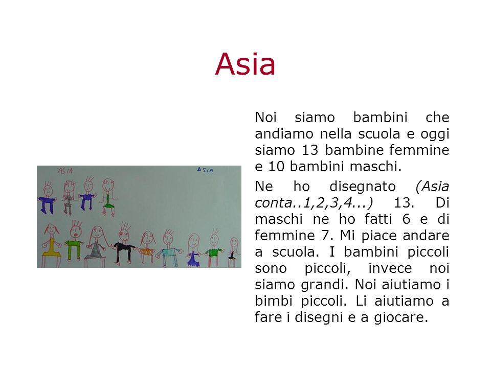 Asia Noi siamo bambini che andiamo nella scuola e oggi siamo 13 bambine femmine e 10 bambini maschi.