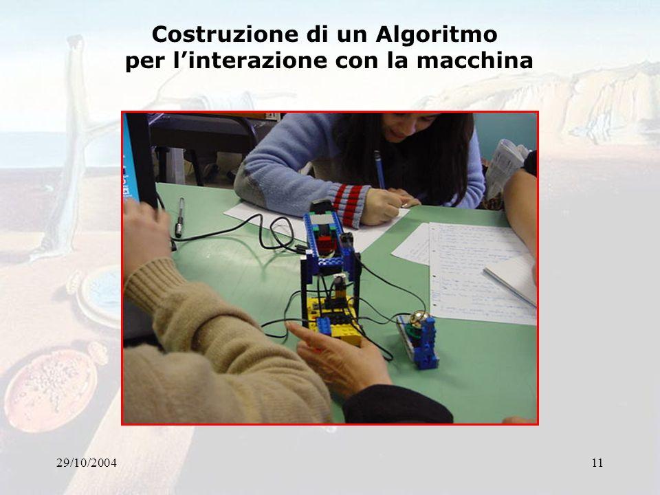 29/10/200411 Costruzione di un Algoritmo per linterazione con la macchina