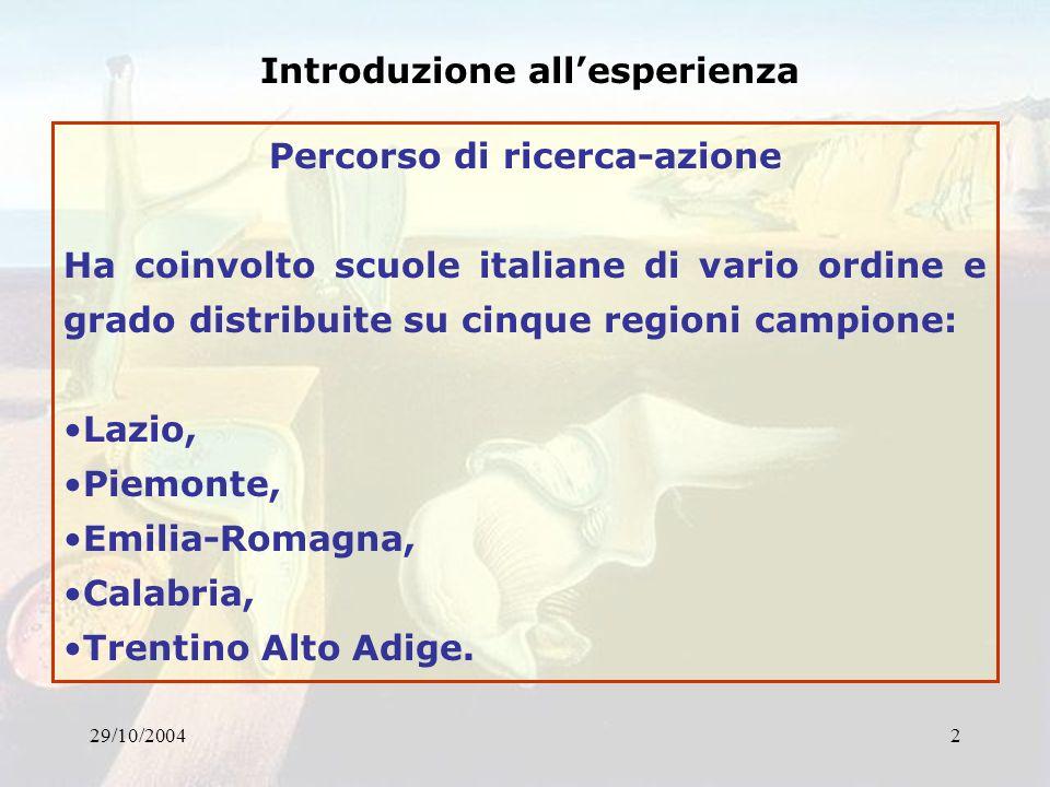 29/10/20042 Introduzione allesperienza Percorso di ricerca-azione Ha coinvolto scuole italiane di vario ordine e grado distribuite su cinque regioni c