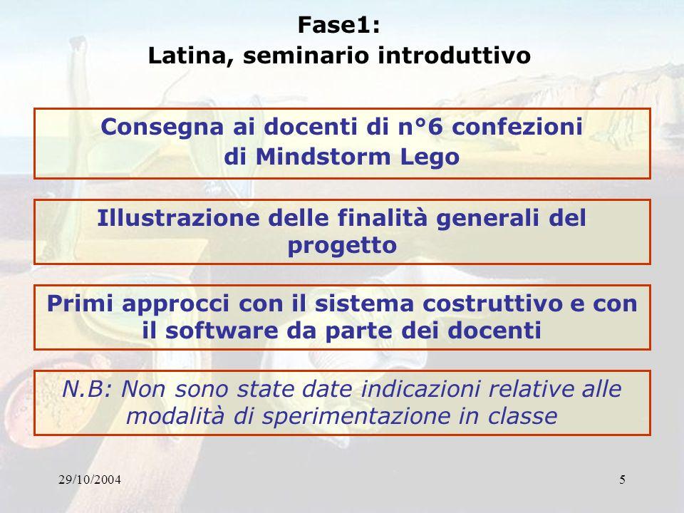 29/10/20045 Fase1: Latina, seminario introduttivo Consegna ai docenti di n°6 confezioni di Mindstorm Lego Illustrazione delle finalità generali del pr