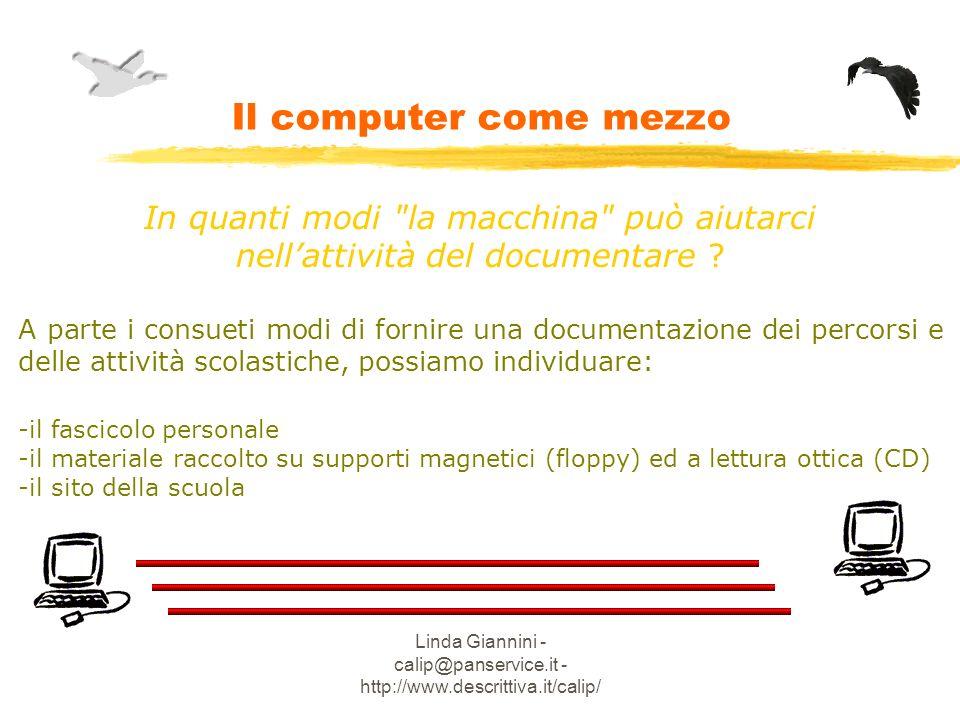 Linda Giannini - calip@panservice.it - http://www.descrittiva.it/calip/ Il computer come mezzo In quanti modi la macchina può aiutarci nellattività del documentare .