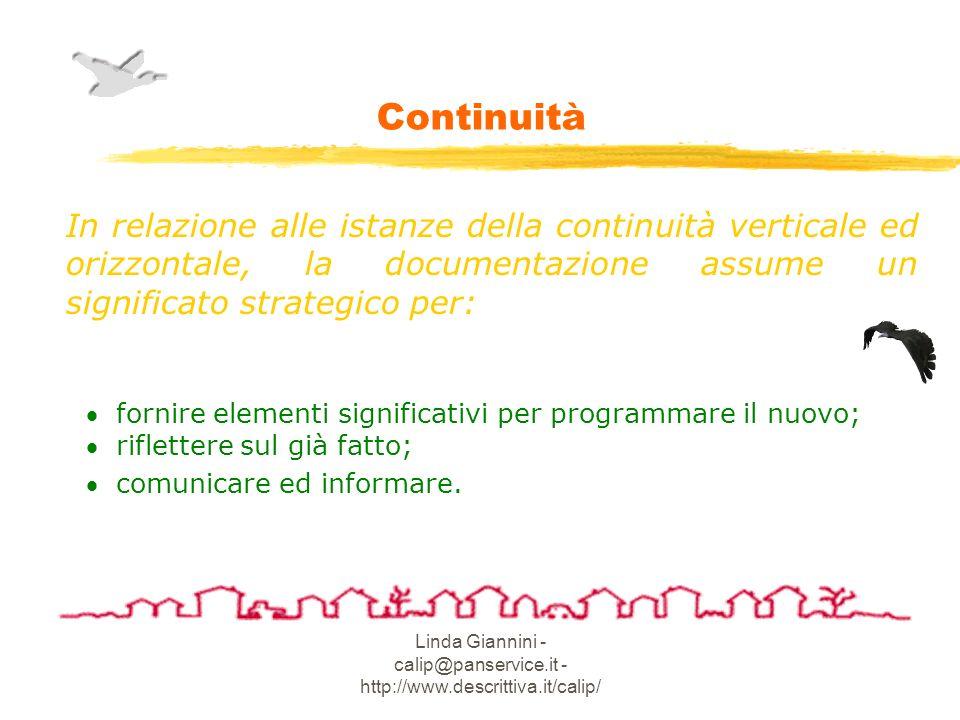 Linda Giannini - calip@panservice.it - http://www.descrittiva.it/calip/ Continuità In relazione alle istanze della continuità verticale ed orizzontale, la documentazione assume un significato strategico per: fornire elementi significativi per programmare il nuovo; riflettere sul già fatto; comunicare ed informare.