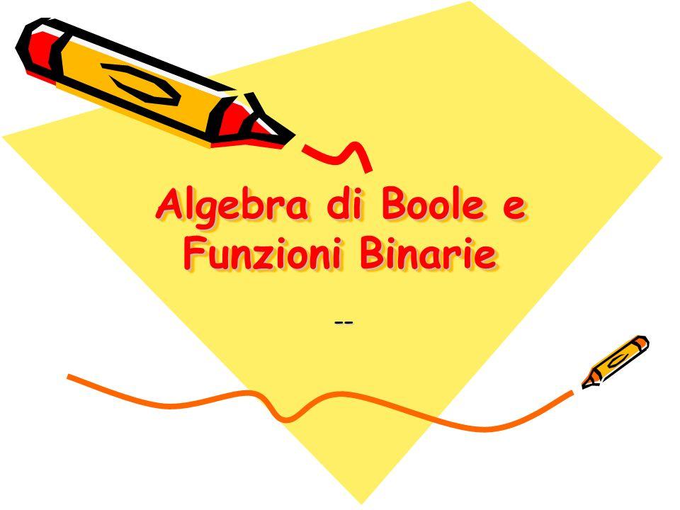 Algebra di Boole12 Funzioni Una funzione può essere rappresentata sotto forma di tabella di verità, scrivendo accanto ad ognuna delle 2 n diverse configurazioni di x1, x2, … xn il valore assunto dalla y.