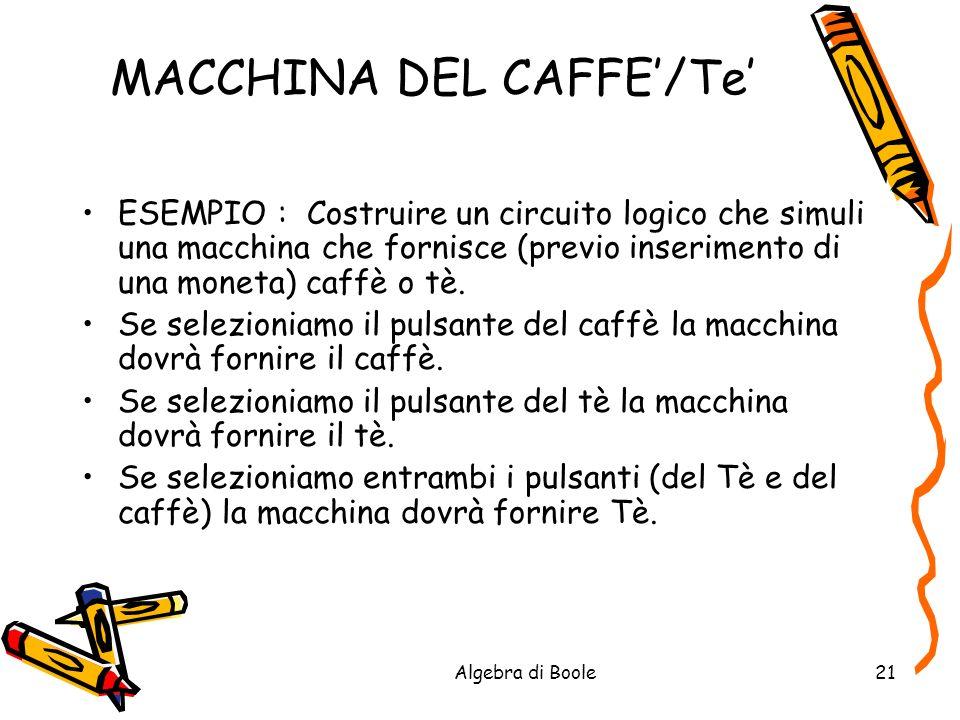 Algebra di Boole21 MACCHINA DEL CAFFE/Te ESEMPIO : Costruire un circuito logico che simuli una macchina che fornisce (previo inserimento di una moneta