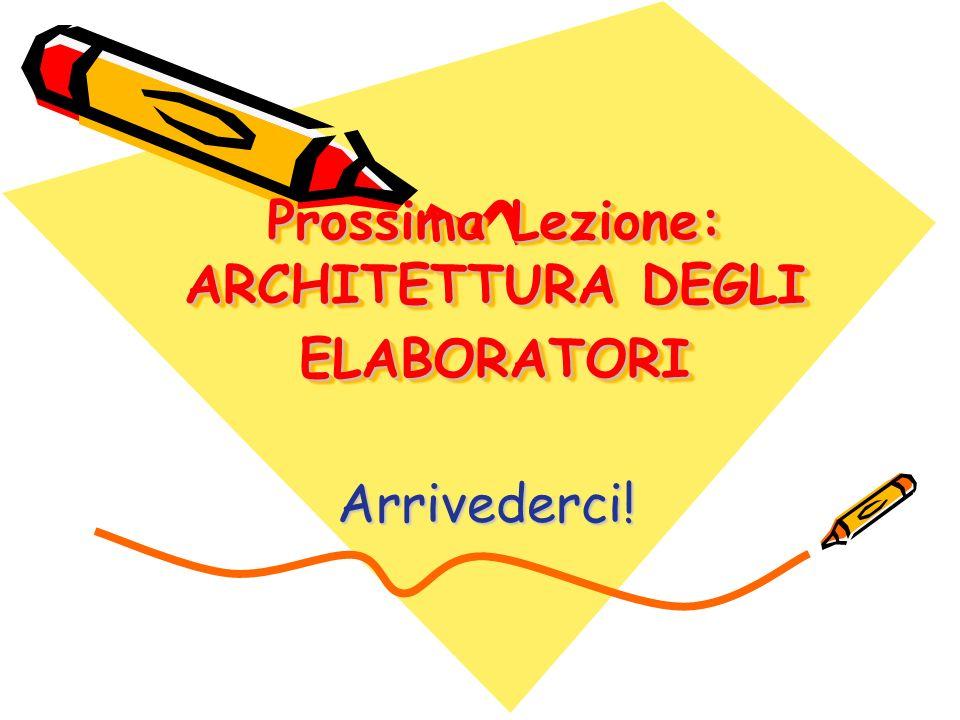 Prossima Lezione: ARCHITETTURA DEGLI ELABORATORI Arrivederci!