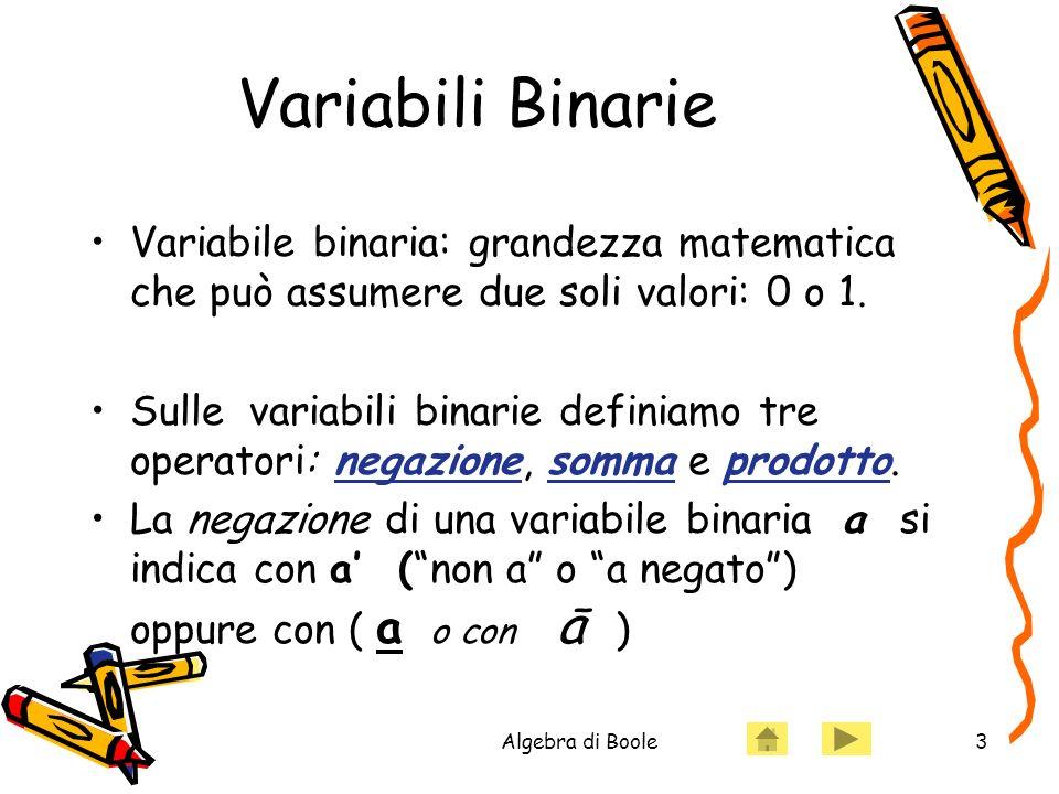 Algebra di Boole3 Variabili Binarie Variabile binaria: grandezza matematica che può assumere due soli valori: 0 o 1. Sulle variabili binarie definiamo
