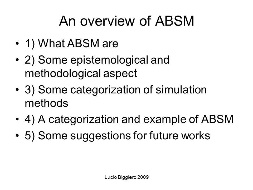 Lucio Biggiero 2009 Ideal methodological process Current knowledge Simulation model (in virtuo) Field research (in vivo) Laboratory cases (in vitro)