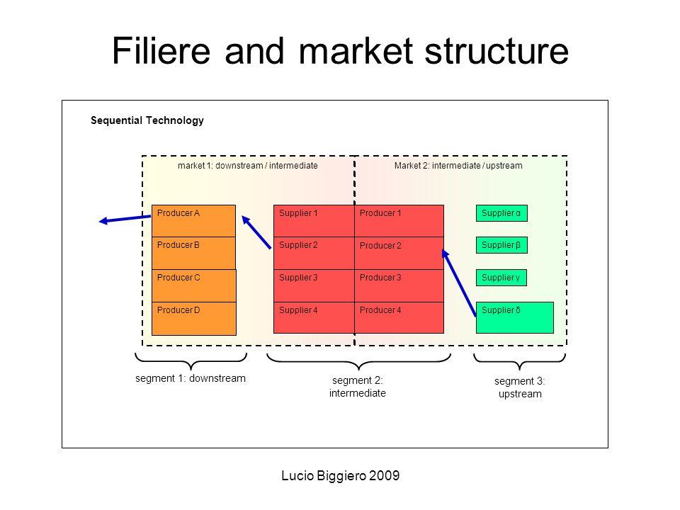 Lucio Biggiero 2009 Filiere and market structure market 1: downstream / intermediate Producer A Producer B Producer C Market 2: intermediate / upstrea