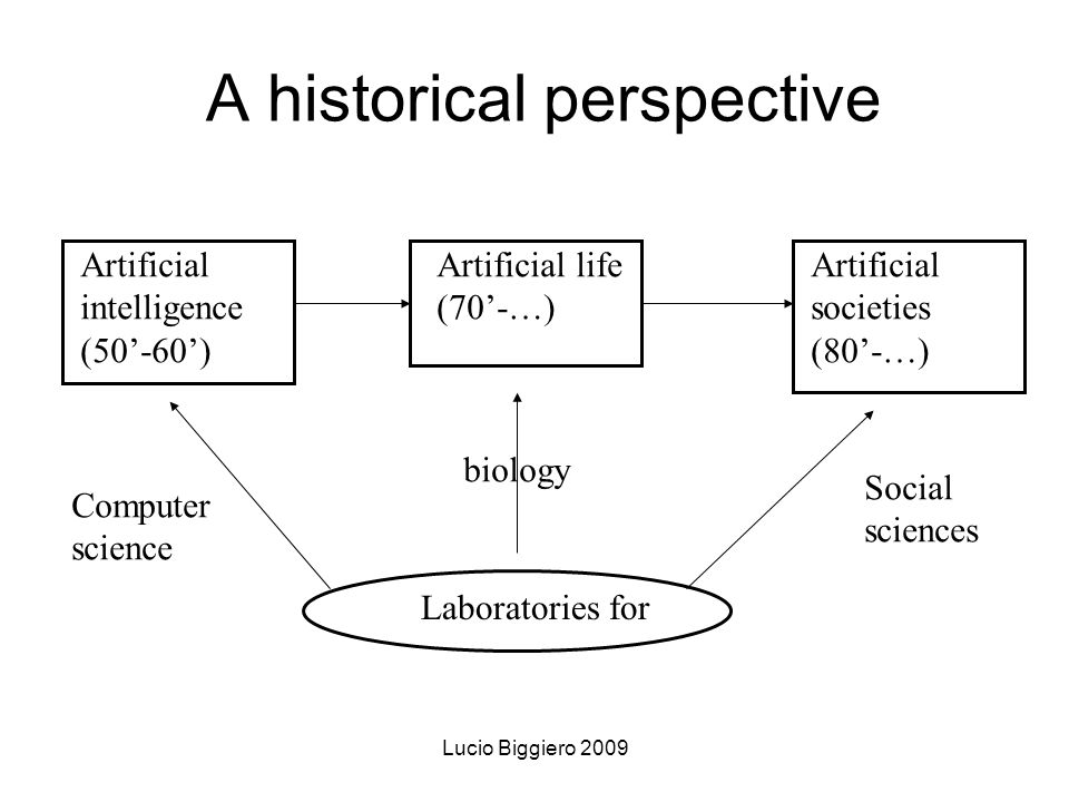 Lucio Biggiero 2009 A historical perspective Artificial intelligence (50-60) Artificial life (70-…) Artificial societies (80-…) Laboratories for Computer science biology Social sciences