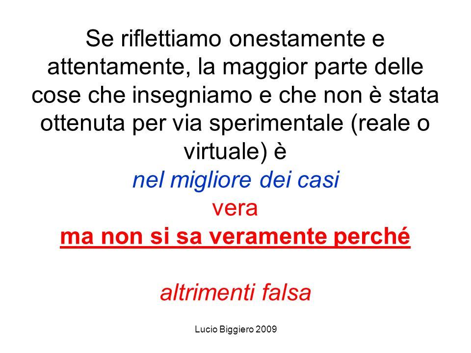 Lucio Biggiero 2009 Se riflettiamo onestamente e attentamente, la maggior parte delle cose che insegniamo e che non è stata ottenuta per via speriment