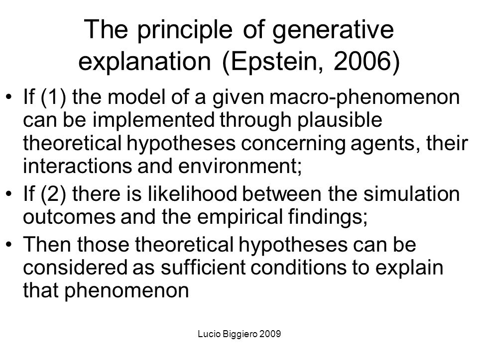 Lucio Biggiero 2009 2) Some epistemological and methodological aspect
