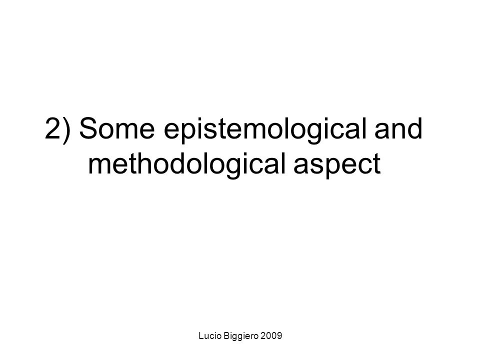 Lucio Biggiero 2009 2) Some epistemological and methodological aspect