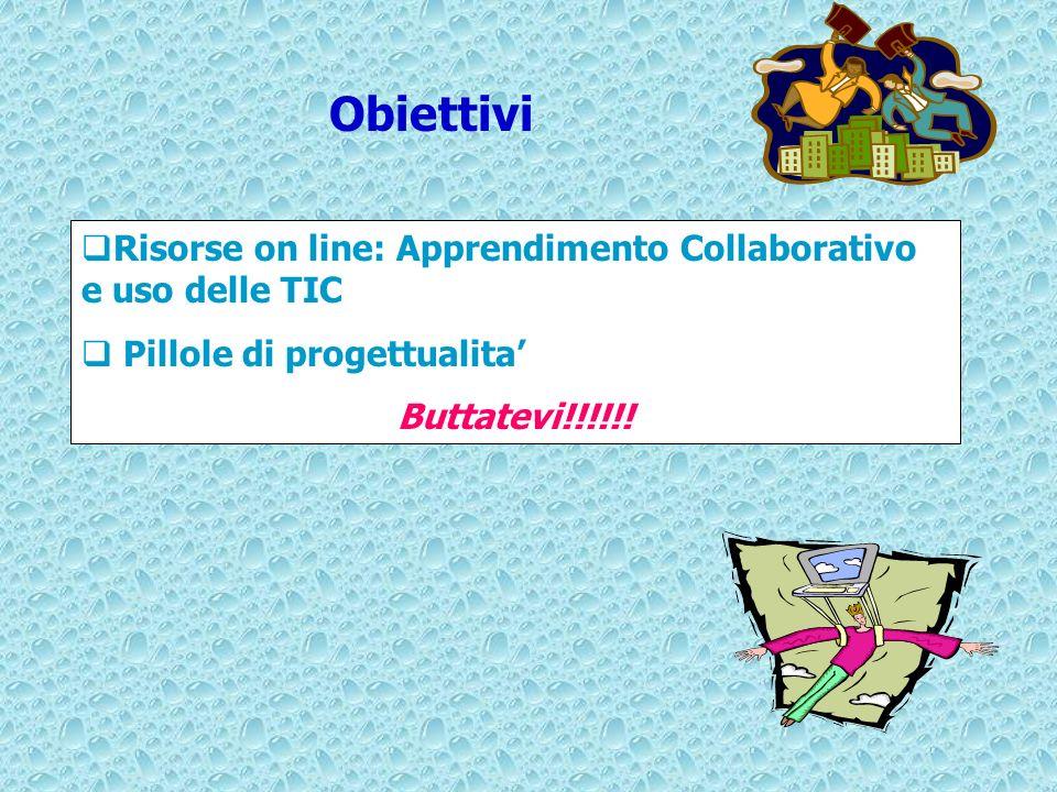 Risorse on line: Apprendimento Collaborativo e uso delle TIC Pillole di progettualita Buttatevi!!!!!! Obiettivi