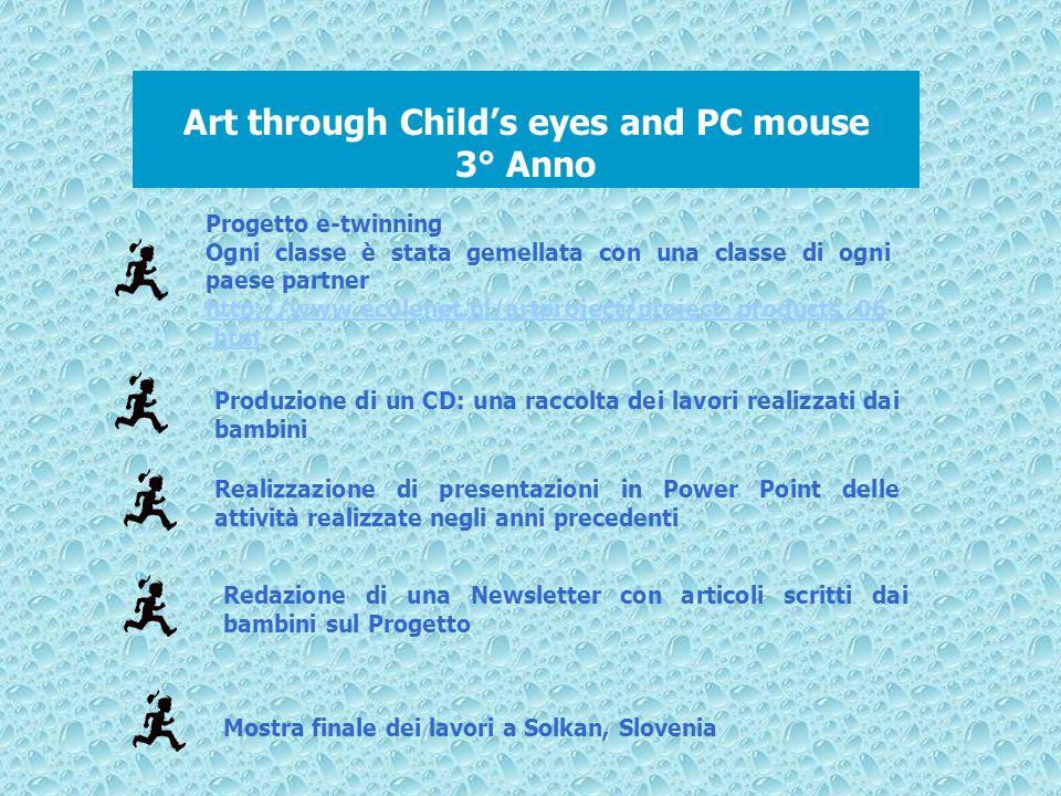 Art through Childs eyes and PC mouse 3° Anno Progetto e-twinning Ogni classe è stata gemellata con una classe di ogni paese partner http://www.ecolene