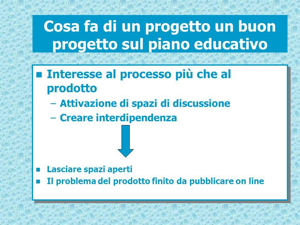 Cosa fa di un progetto un buon progetto sul piano educativo Interesse al processo più che al prodotto –Attivazione di spazi di discussione –Creare int