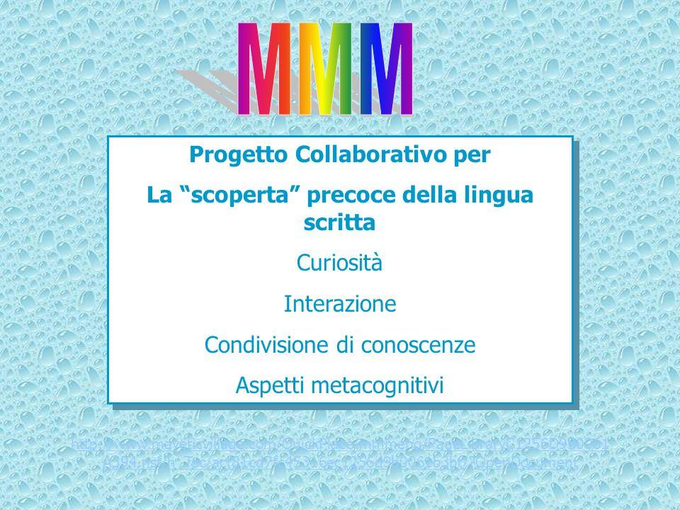 Progetto Collaborativo per La scoperta precoce della lingua scritta Curiosità Interazione Condivisione di conoscenze Aspetti metacognitivi Progetto Co