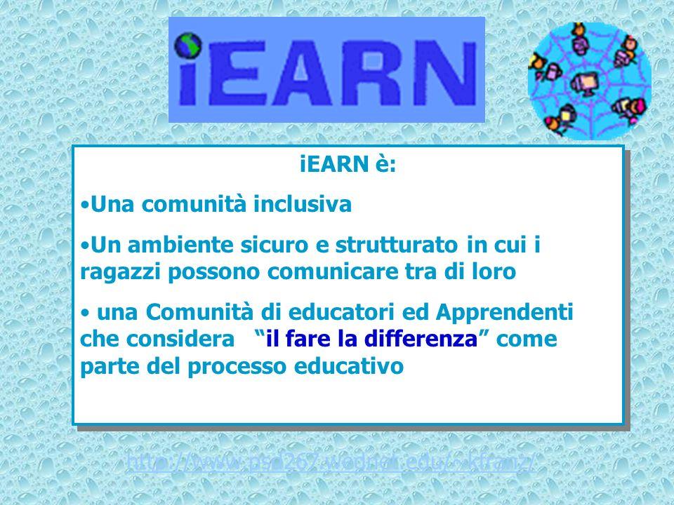 iEARN è: Una comunità inclusiva Un ambiente sicuro e strutturato in cui i ragazzi possono comunicare tra di loro una Comunità di educatori ed Apprende