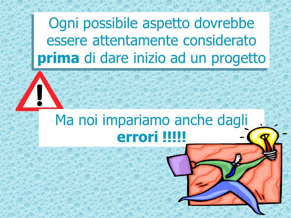 Ogni possibile aspetto dovrebbe essere attentamente considerato prima di dare inizio ad un progetto Ma noi impariamo anche dagli errori !!!!!
