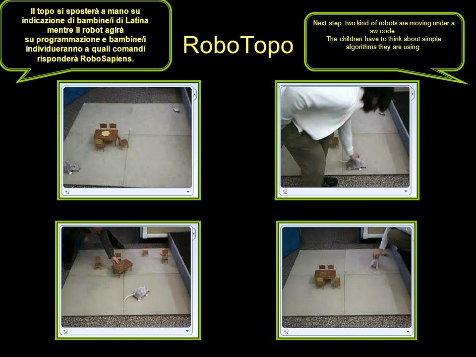 RoboTopo Il topo si sposterà a mano su indicazione di bambine/i di Latina mentre il robot agirà su programmazione e bambine/i individueranno a quali comandi risponderà RoboSapiens.