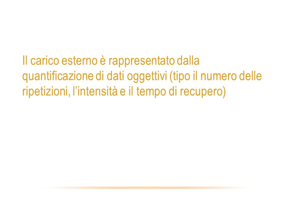 Carico esterno Il carico esterno è rappresentato dalla quantificazione di dati oggettivi (tipo il numero delle ripetizioni, lintensità e il tempo di r
