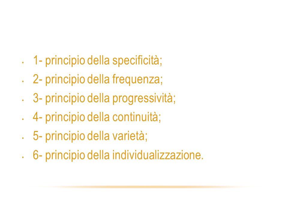 Principi delladattamento 1- principio della specificità; 2- principio della frequenza; 3- principio della progressività; 4- principio della continuità