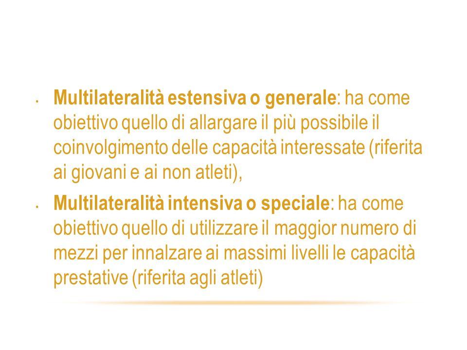 Varietà dei carichi 2 Multilateralità estensiva o generale : ha come obiettivo quello di allargare il più possibile il coinvolgimento delle capacità i