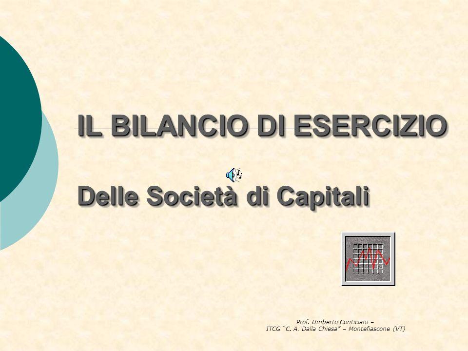 Prof. Umberto Conticiani – ITCG C. A. Dalla Chiesa – Montefiascone (VT) IL BILANCIO DI ESERCIZIO Delle Società di Capitali