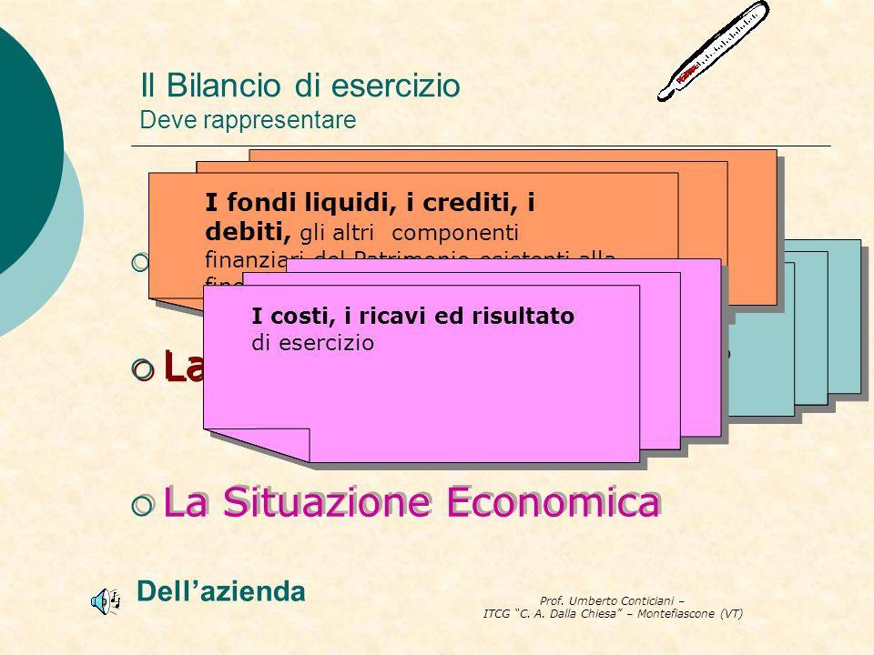 Prof. Umberto Conticiani – ITCG C. A. Dalla Chiesa – Montefiascone (VT) Il Bilancio di esercizio Deve rappresentare La Situazione patrimoniale La Situ