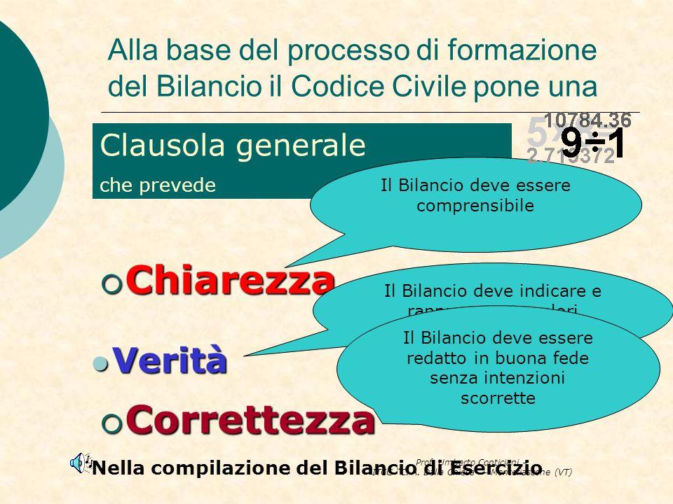 Prof. Umberto Conticiani – ITCG C. A. Dalla Chiesa – Montefiascone (VT) Alla base del processo di formazione del Bilancio il Codice Civile pone una Ch