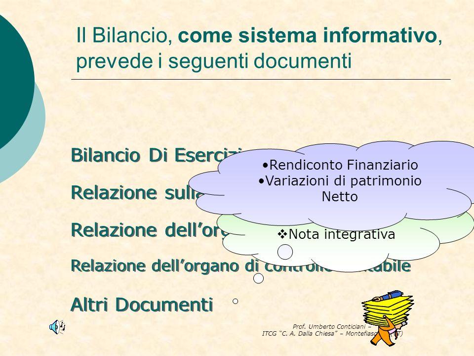 Prof. Umberto Conticiani – ITCG C. A. Dalla Chiesa – Montefiascone (VT) Il Bilancio, come sistema informativo, prevede i seguenti documenti Bilancio D