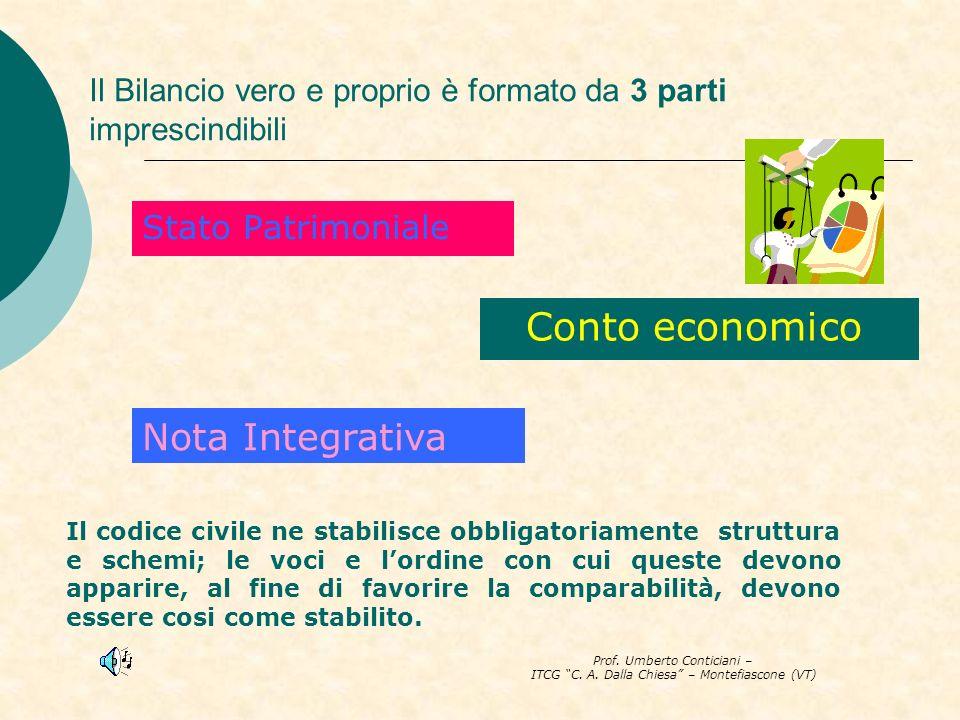 Prof. Umberto Conticiani – ITCG C. A. Dalla Chiesa – Montefiascone (VT) Il Bilancio vero e proprio è formato da 3 parti imprescindibili Stato Patrimon