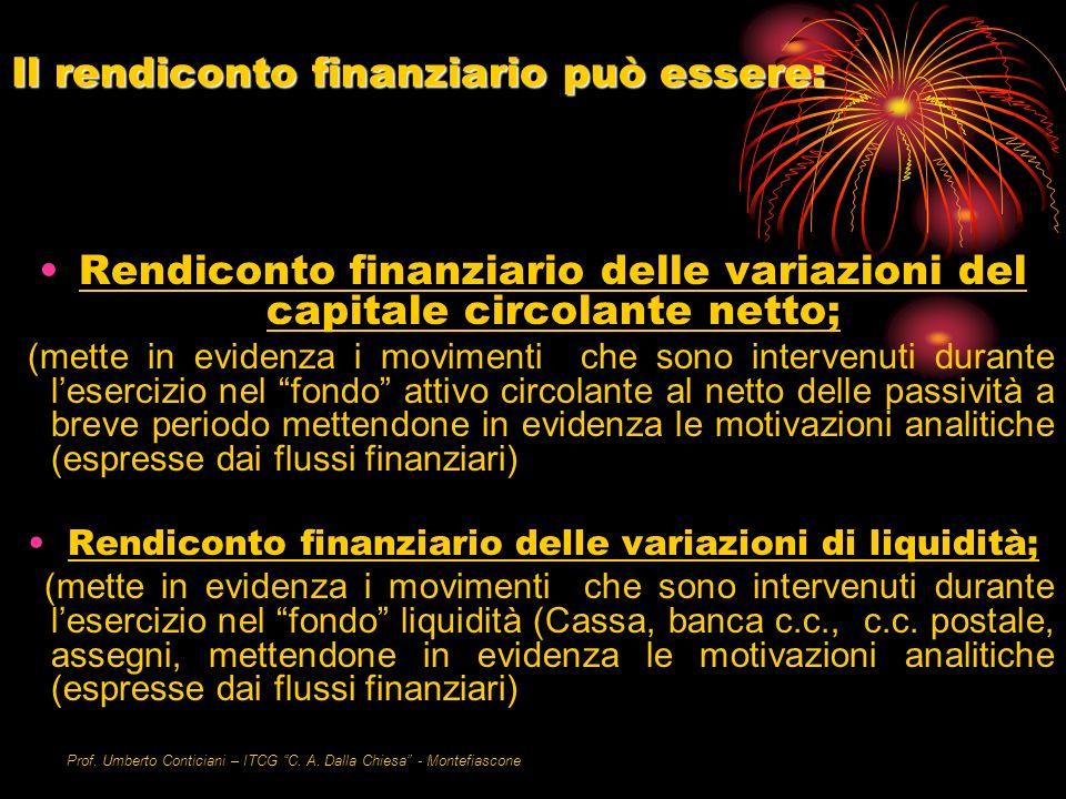 Prof. Umberto Conticiani – ITCG C. A. Dalla Chiesa - Montefiascone Il rendiconto finanziario può essere: Rendiconto finanziario delle variazioni del c