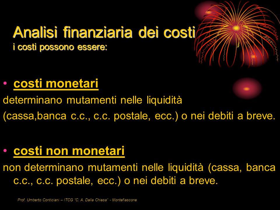 Prof. Umberto Conticiani – ITCG C. A. Dalla Chiesa - Montefiascone Analisi finanziaria dei costi i costi possono essere: costi monetari determinano mu