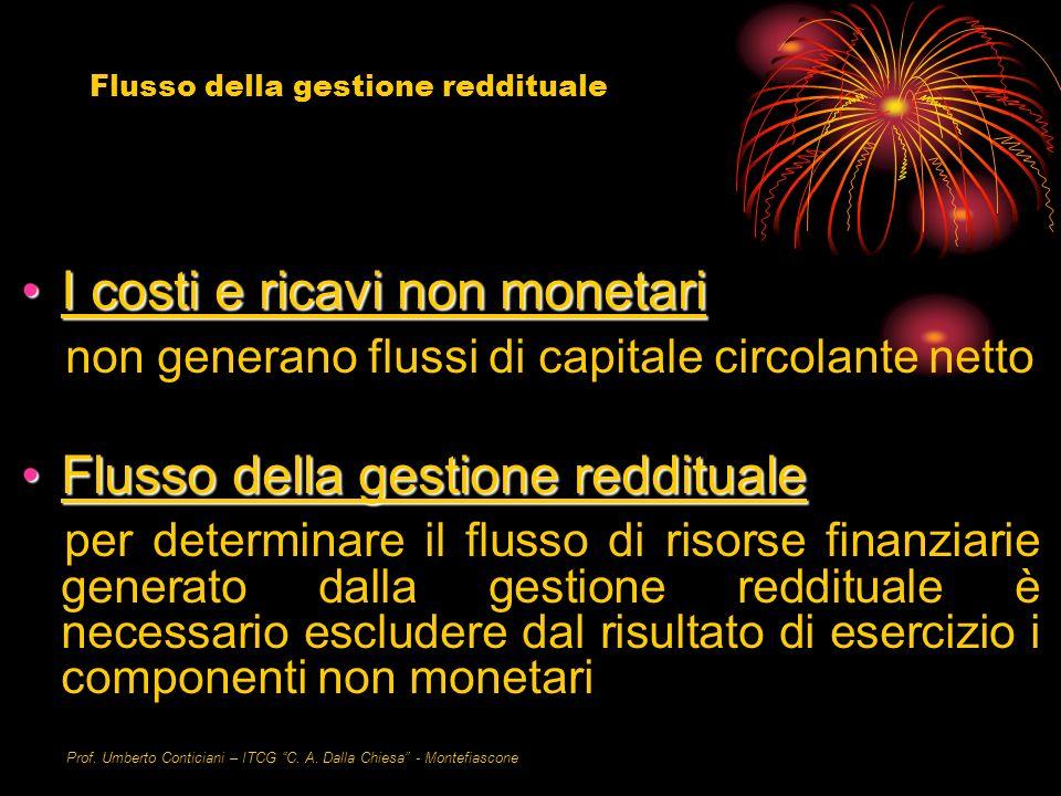 Prof. Umberto Conticiani – ITCG C. A. Dalla Chiesa - Montefiascone I costi e ricavi non monetariI costi e ricavi non monetari non generano flussi di c