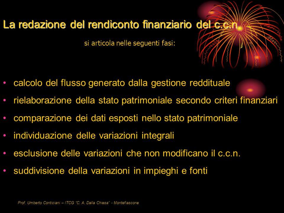Prof. Umberto Conticiani – ITCG C. A. Dalla Chiesa - Montefiascone La redazione del rendiconto finanziario del c.c.n. calcolo del flusso generato dall