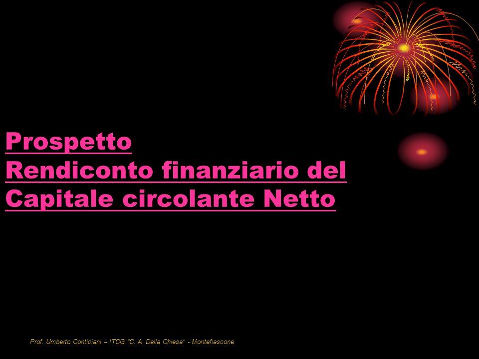 Prof. Umberto Conticiani – ITCG C. A. Dalla Chiesa - Montefiascone Prospetto Rendiconto finanziario del Capitale circolante Netto