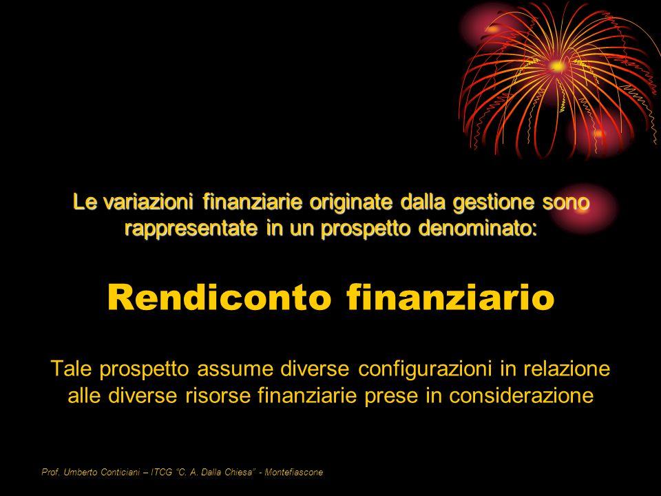 Prof. Umberto Conticiani – ITCG C. A. Dalla Chiesa - Montefiascone Le variazioni finanziarie originate dalla gestione sono rappresentate in un prospet