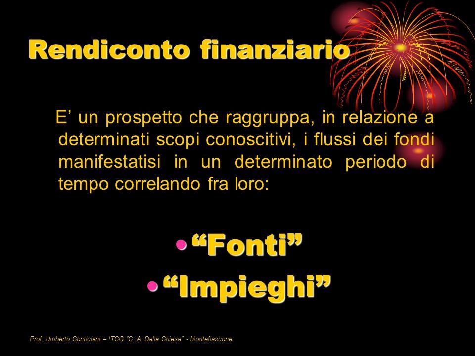 Prof. Umberto Conticiani – ITCG C. A. Dalla Chiesa - Montefiascone Rendiconto finanziario E un prospetto che raggruppa, in relazione a determinati sco