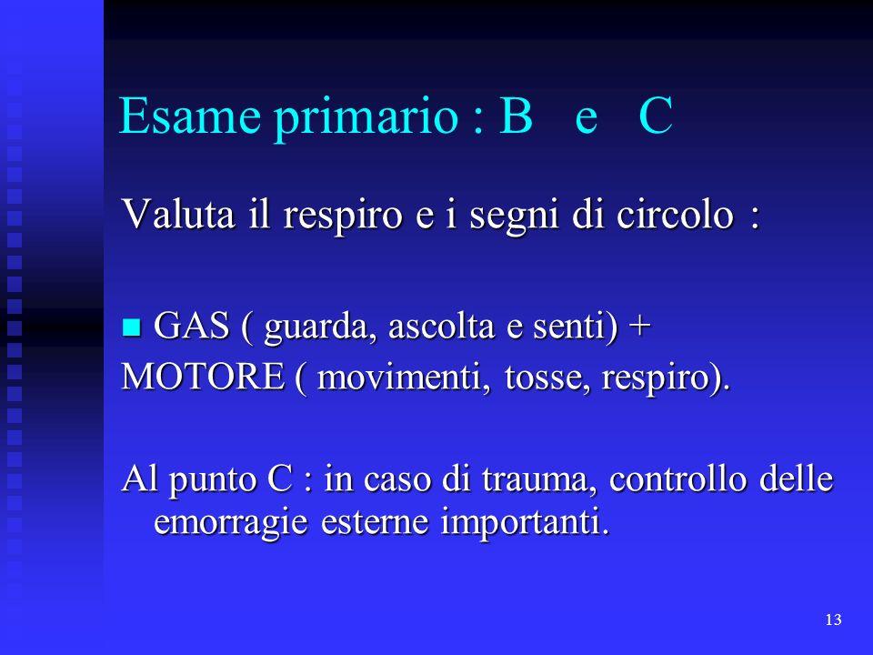 13 Esame primario : B e C Valuta il respiro e i segni di circolo : GAS ( guarda, ascolta e senti) + GAS ( guarda, ascolta e senti) + MOTORE ( moviment