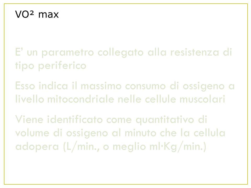 VO² max E un parametro collegato alla resistenza di tipo periferico Esso indica il massimo consumo di ossigeno a livello mitocondriale nelle cellule muscolari Viene identificato come quantitativo di volume di ossigeno al minuto che la cellula adopera (L/min., o meglio ml·Kg/min.)