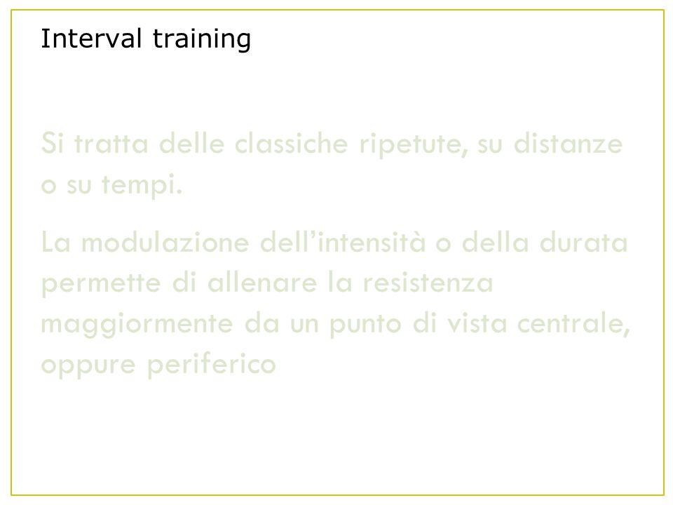 Interval training Si tratta delle classiche ripetute, su distanze o su tempi.