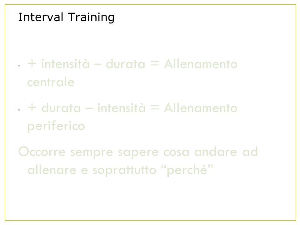Interval Training + intensità – durata = Allenamento centrale + durata – intensità = Allenamento periferico Occorre sempre sapere cosa andare ad allenare e soprattutto perché