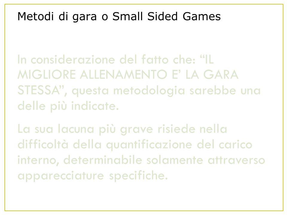 Metodi di gara o Small Sided Games In considerazione del fatto che: IL MIGLIORE ALLENAMENTO E LA GARA STESSA, questa metodologia sarebbe una delle più indicate.