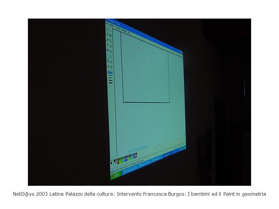 NetD@ys 2003 Latina Palazzo della cultura: Intervento Francesca Burgos: I bambini ed il Paint in geometria