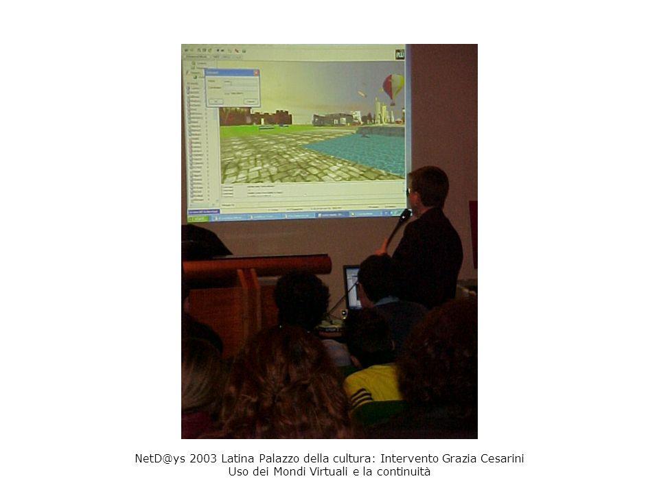 NetD@ys 2003 Latina Palazzo della cultura: Intervento Grazia Cesarini Uso dei Mondi Virtuali e la continuità
