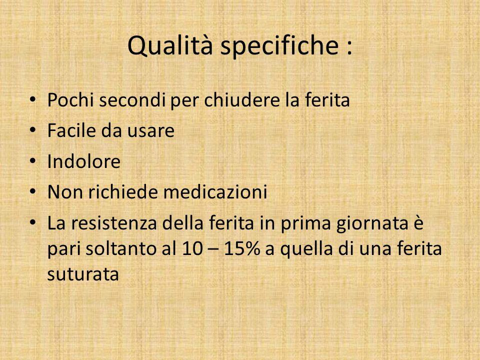 Qualità specifiche : Pochi secondi per chiudere la ferita Facile da usare Indolore Non richiede medicazioni La resistenza della ferita in prima giorna