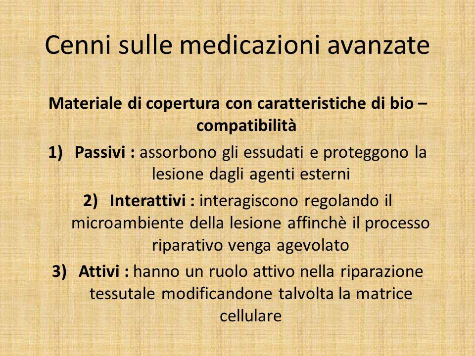 Cenni sulle medicazioni avanzate Materiale di copertura con caratteristiche di bio – compatibilità 1)Passivi : assorbono gli essudati e proteggono la