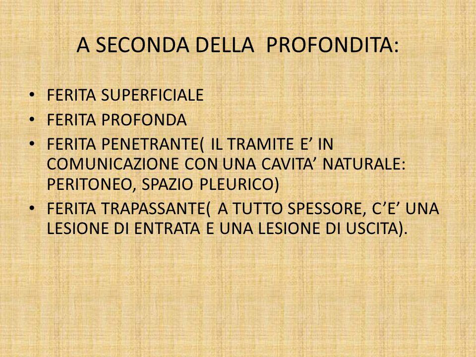 A SECONDA DELLA PROFONDITA: FERITA SUPERFICIALE FERITA PROFONDA FERITA PENETRANTE( IL TRAMITE E IN COMUNICAZIONE CON UNA CAVITA NATURALE: PERITONEO, S